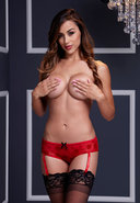 Red Rose Open Crotch Boyshort Panty Sm
